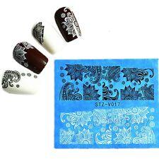 48 Blatt/set Nagel Tattoo Nail Sticker Aufkleber Lace Blumen Pattern Water Decal