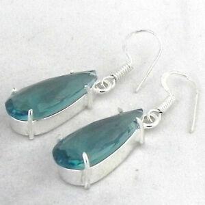 925 Sterling Silver Handmade Teardrop Aquamarine Gems Earrings BES-1211 Her Gift