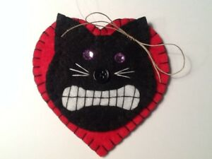 Halloween black cat ornaments for  tree decorating, gift tag, wreath, halloween