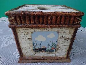 Tissue Box Duck Holder Rustic Tree Bark Creative Bath Outdoors Facial Tissue