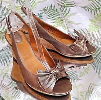 CLARKS COPPER LEATHER SLIP ON SANDALS SLINGBACK DRESS HEELS SHOES WOMENS SZ 10 M