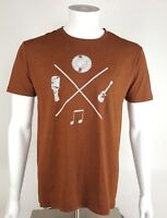 Pacific Mens Size Medium Brown Solid Musical Graphic Short Sleeve Tee NWOT