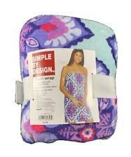 SIMPLE BY DESIGN BATH WRAP ADJ. HOOK & LOOP CLOSURE Purple Pattern
