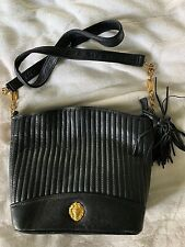 Anne Klein Purse Hand Bag Navy Blue Gold Bucket Strap Leather Authentic Party