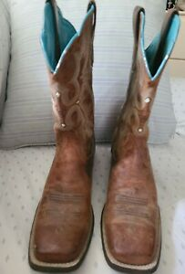 Ariat Preowned Womens Western Cowboy Brown/Teal Leather Square Toe Boot Size 9B