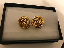 Vintage Chanel Round Gold CC earrings clip-on 1995