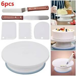 "6Pcs Cake Decorating Turntable 11-24"" Set Tools Rotating Stand Smoother Spatula"