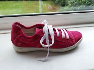 Ecco ladies pink suede Lace up comfort shoes size 4D UK /37 EU