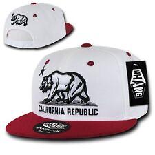 White & Maroon California Republic Star Bear Vintage Flat Bill Snapback Cap Hat