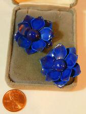 Vintage  Indigo Blue Enamel Petal Flower Clip on Button Earrings  4b 16