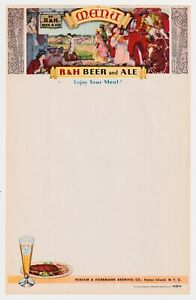 R&H BEER AND ALE MENU RUBSAM & HORRMANN BREWING, STATEN ISLAND COPYRIGHT 1940