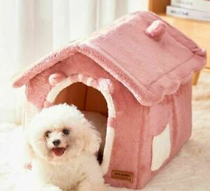 Pet Dog Cat House Beds Kennel Indoor Raised Tent Cushion Mat Chimney House S,M,L
