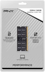 PNY 32GB 2.666GHz PC4-21300 DDR4 SO-DIMM Unbuffered Non-ECC Laptop Memory