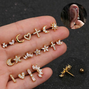 Zircon Stone Cartilage Earring Conch Tragus Helix Cartilage Piercing Ear Stud