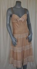 Betsey Johnson Nude Lace Full Skirt Cocktail Mid-Calf Dress Size 8