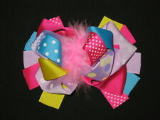 """NEW """"BRIGHT LILAC DOT"""" Fur Hairbow Alligator Clips Girls Ribbon Bows 5.5 Inch"""