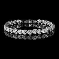 Fashion Women Zircon Crystal CZ Heart Bracelet Bangle Roman Chain Jewelry Party