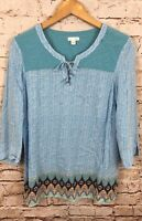 J Jill shirt tunic womens small lace up keyhole 3/4 sleeve teal top BX5