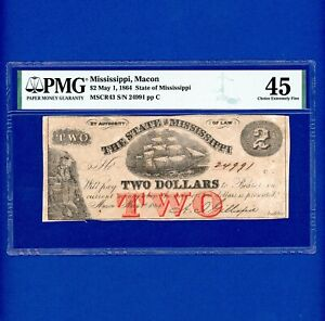 1864 $2 THE STATE OF MISSISSIPPI VERY RARE CIVIL WAR NOTE CR43 PMG 45 CHOICE EF