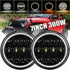 "DOT 300W 7""inch LED Headlight Halo Black DRL for Jeep Wrangler JK JL TJ CJ Chevy"