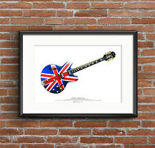 Noel Gallagher's 1960's Epiphone Sheraton guitar ART POSTER A2 size