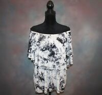 Ava James Women's Blouse Size Large Off The Shoulder Elastic Neck Tie Dye Top