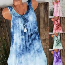 Women Summer Casual Sleeveless T Shirt Floral Lace Crew Neck Loose Tank Dress