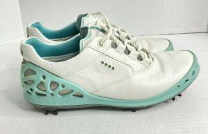 ECCO Golf Ladies Cage GORE TEX White Aquatic Blue Shoes Size 8 EU 39 10202359779