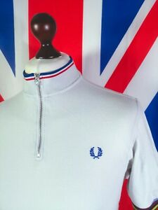 Fred Perry X Bradley Wiggins Zip Polo - L - Off White - Mod Casuals 60's