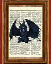 Toothless Dictionary Art Print Poster Picture How to Train Your Dragon