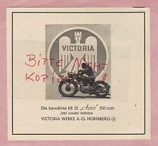NÜRNBERG, Werbung 1949, VICTORIA-WERKE AG Motor-Fahrräder Motorrad Aero 250 ccm