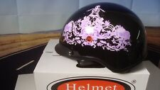 HCI Half Helmet W/ Visor Purple Flowers Black XS HCI-100 Scooter Motorcycle Z2