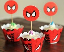 MARVEL SPIDERMAN CUPCAKE WRAPPERS & TOPPERS PACK OF 12 BIRTHDAY PARTY SUPPLIES