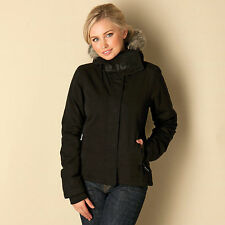 WOMENS BENCH WALL FAUX FUR HOODED JACKET - SIZE EXTRA SMALL (UK SIZE 8) - BLACK.