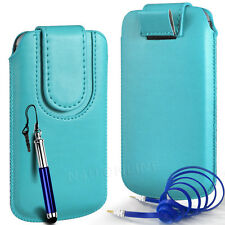 MAGNETIC PU LEATHER PULL FLIP TAB CASE COVER & JACK CABLE FOR SONY PHONES