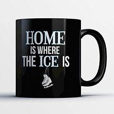 Figure Skating Coffee Mug - Home Is Where The Ice Is - Adorable 11 oz Black Cera