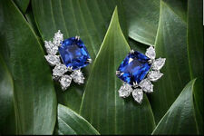 925 Sterling Silver Cushion Cut Blue Sapphire Stud Solid Earrings 2.15Ct