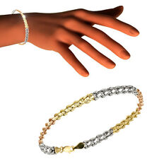 Armkette 375 echt Gold rose weiß gelb Kordelarmband 19 cm 9 Karat dreifarbig neu