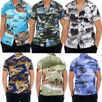 Mens Hawaiian Beach Print Shirts Beach Party Summer Holidays Size UK M-3XL