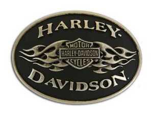 Harley-Davidson Mens Belt Buckle black Flame Brushed Chrome HDMBU10070