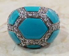 925 Sterling Silver Natural Turquoise White Topaz Platinum Embraced Ring Size 8