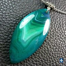 ♥ Gorgeous Long Emerald Green Striated Agate Pendant Stainless Steel Necklace
