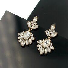 Boucles d`Oreilles CLIP ON Pendant Fleur Crystal Brillant Vintage Retro B2