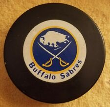 BUFFALO SABRES   OFFICIAL NHL HOCKEY GAME PUCK VINTAGE BIG TRENCH LOGO