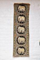 Rare Antique Vintage Burmese Kalaga Tapestry Wall Hanging 50x15 Textile elephant