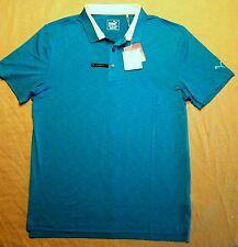 Puma Golf mens $70 Rickie Fowler Tailored Tippe Polo Shirt Hawaiian Ocean Blue L