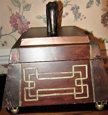 Large Unique Wood Elephant Wood Box With Brass Strip Accents And Balled Feet