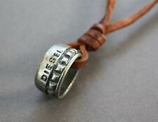 NEW Leather Men's Metal Ring Diesel Pendant Surfer Necklace Choker Adjustable