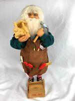 "Santa Claus Figurine 16"" Christmas Tools Box & Apron Train Hammer Toy Workshop"