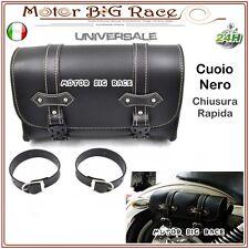 Borsa Laterale per Moto Harley Davidson Bobber Chopper Cuoio Nero Univer. M212